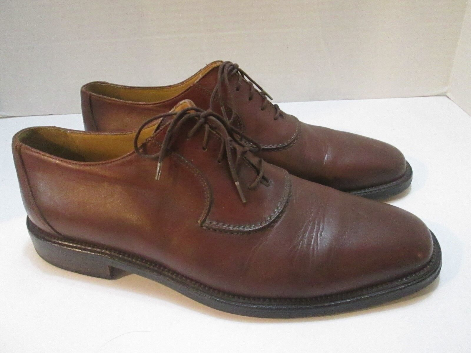 JOHNSTON & MURPHY Domani Mens 9.5 M Brown Leather Oxford Dress shoes
