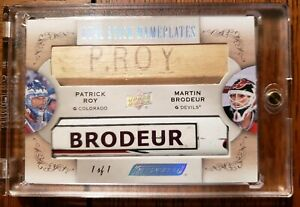 2018-19-UD-Engrained-Martin-Brodeur-Patrick-Roy-Dual-Stick-Nameplates-1-1-WOW