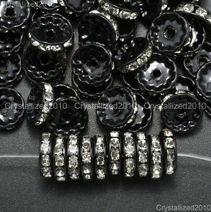100-Black-Paint-Czech-Crystal-Clear-Rhinestones-Rondelle-Spacer-Beads-10mm-12mm