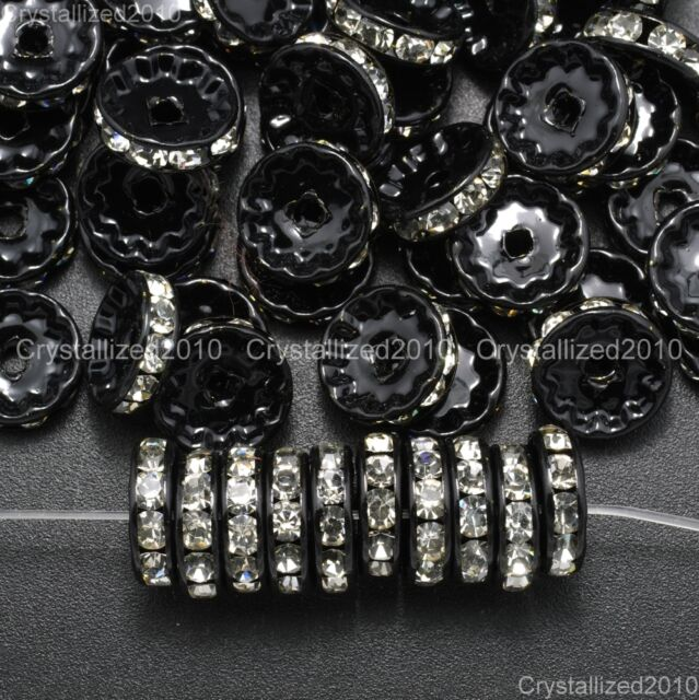 100Pcs Quality Czech Crystal Rhinestones Black Rondelle Spacers Clear 10mm 12mm
