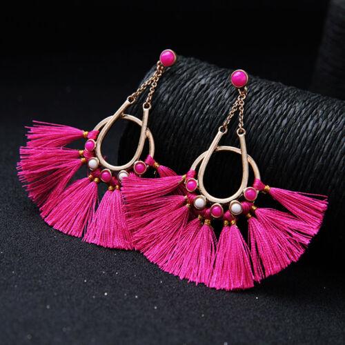 Boucles d/'Oreilles Clous Long Doré Pompon Chandelier Coton Rose Vif Leger XX21