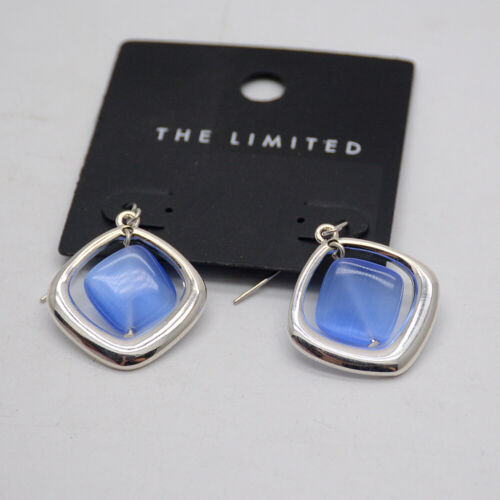 The Limited jewelry blue opal metal square charm polished silver hoop earrings