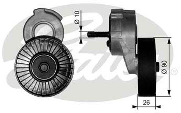 GATES Polea tensora, correa trapezoidal con dentado interior CHRYSLER T38113