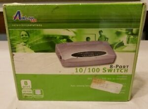 Airlink101-8-Port-Plug-amp-Play-10-100Mbps-Switch-w-Power-Plug-Go-Green-Tech