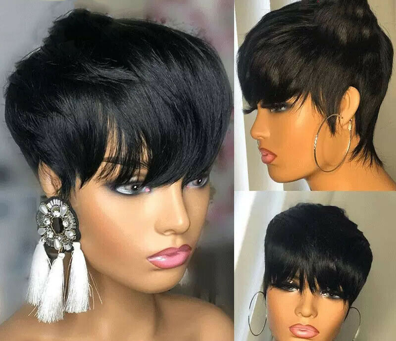 Women Short Brazilian Straight Real Human Hair Wig No Lace Wig Pixie Cut Wig Pop For Sale Online
