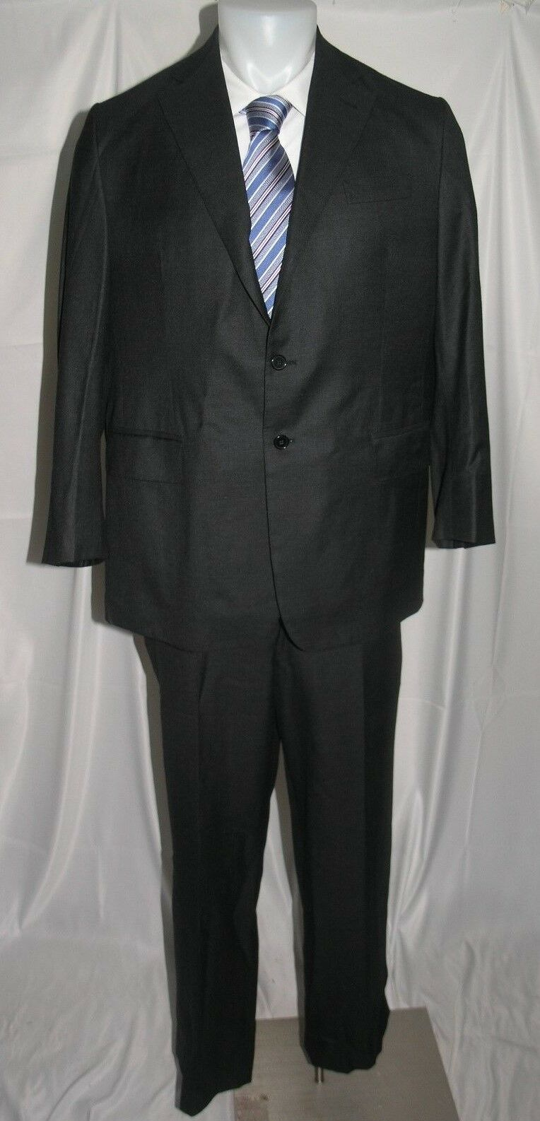 Uma Reddy 11 oz Wool Two Button Flat Front Bespoke Suit 44 R 36 x 28