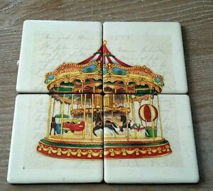 Vintage carousel wall art tiles mural display pictures for Carousel wall mural