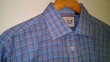 """Thomas Pink Traveller mens slim-fit long sleeved check shirt 16"""" collar"""