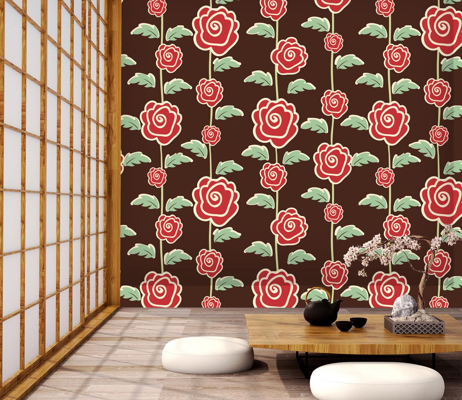 3D Red pinks Vine 331 Wallpaper Mural Wall Print Decal Indoor Murals AU Lemon
