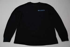 "Costa Del Mar ""Born On The Water"" Black Long Sleeve Cotton Shirt Sz M"