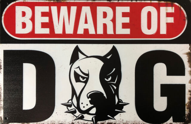 WARNING Beware Of Dog Garage Rustic Vintage Metal Tin Sign Man Cave, Shed & Bar