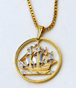 Necklace Gift item Great Britain 1//2 Penny Sailing Ship Gold on Silver Pendant
