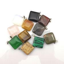 24pcs Square Shape Semi-precious Stone Pendant For Necklace DIY Mixed Lot