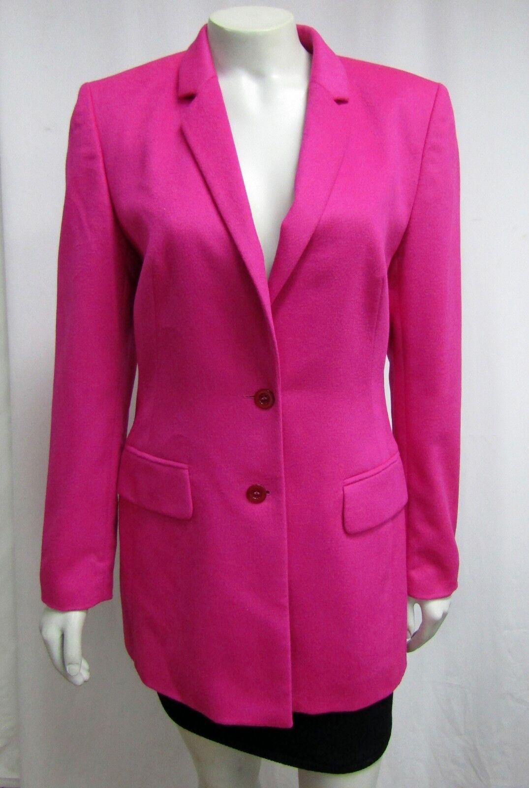 Escada Vintage Margaretha Ley Long Blazer Hot Pink Rabbit 34 Single Breasted 4