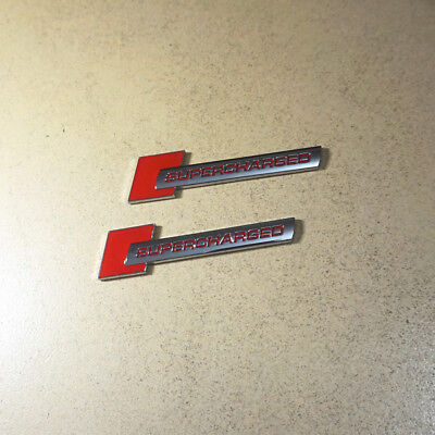 2x Chrome Red Letter SUPERCHARGED Metal Sticker Badge Emblem Sport Limited Turbo