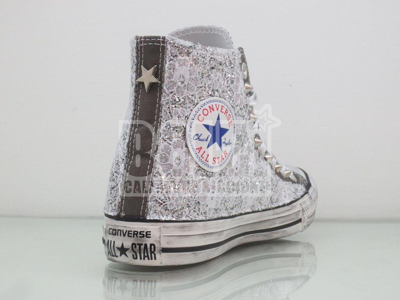 Converse all argento star grigio charcoal  pizzo + glitter argento all  borchie artigianali 6e20dc