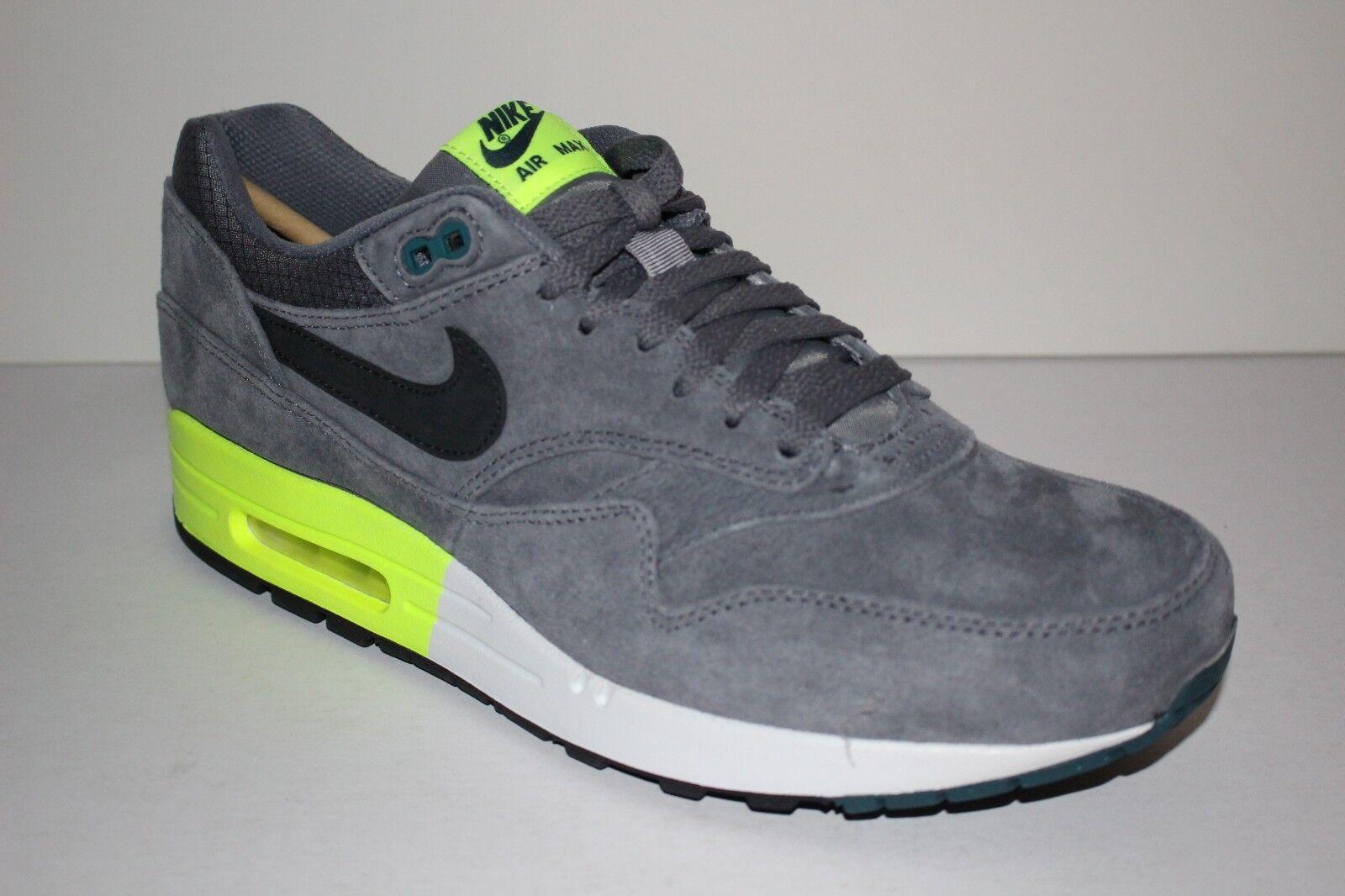 Nike Air Max 1 PRM Men's Sz 11.5 Suede Premium Retro Running shoes Cool Grey Volt