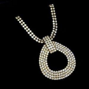 Vintage-Large-Oval-Prong-Set-Rhinetones-Pendant-Statement-Necklace-Classic
