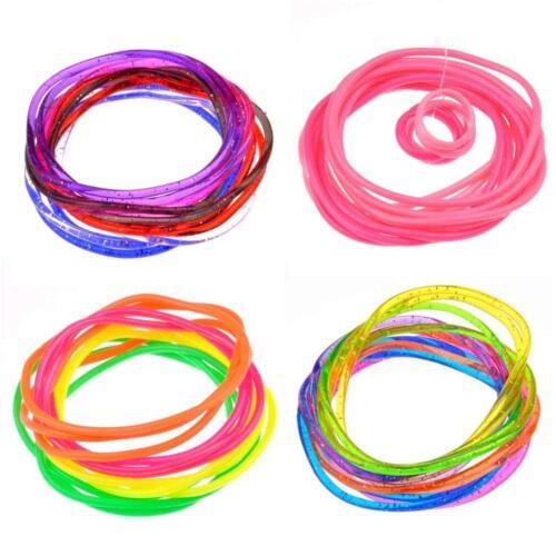 12X Gummy Bands Bracelets  Gummy Wristband Bangle Jelly  Rubber Shag Band
