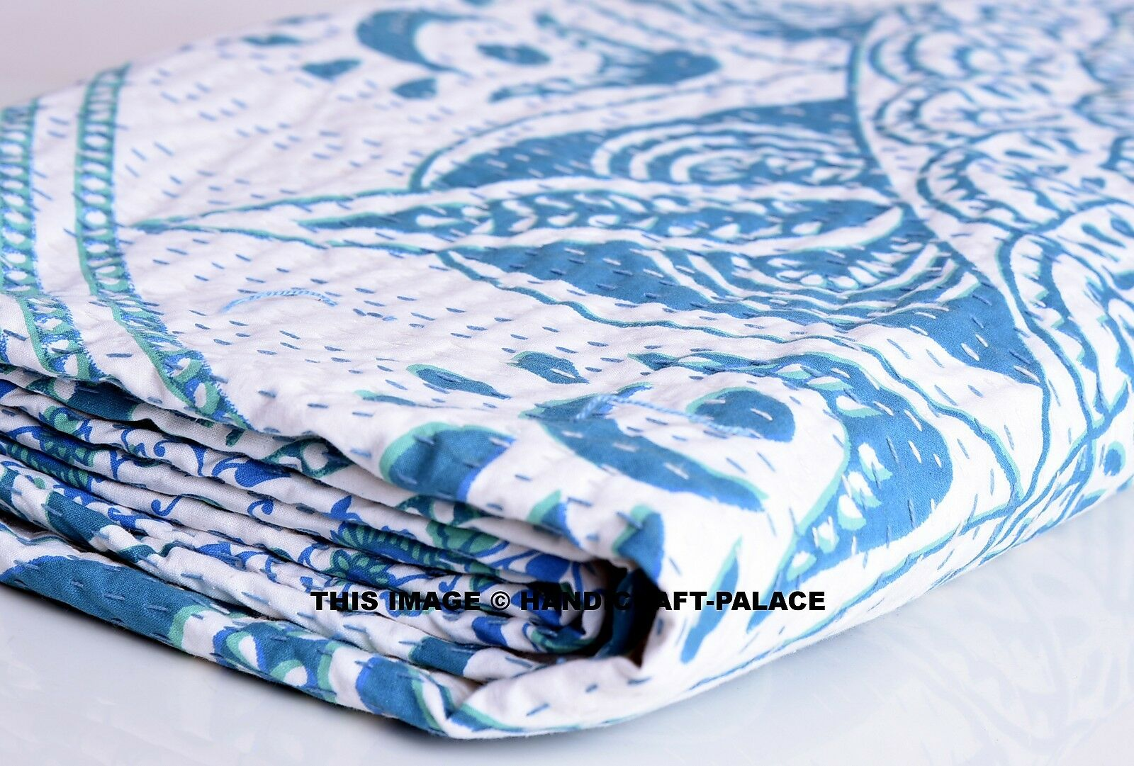 Indian Ombre Mandala Drucken Kantha Quilt Reversible König Bettspread Decor Blanket