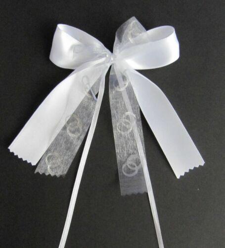weiß-silber 1 Antennenschleife Autoschleife Autoschmuck Hochzeit Dekoration