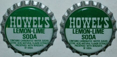 Soda pop bottle caps Lot of 25 HOWELS LEMON LIME plastic lined new old stock