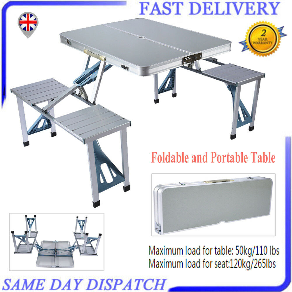 ALUMINIUM FOLDING PORTABLE CAMPING PICNIC PARTY DINING TABLE FOLD WITH 4 CHAIRS