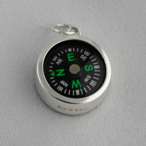 Nautical Travel Gift Pendant Only 925 Sterling Silver Working Compass Charm