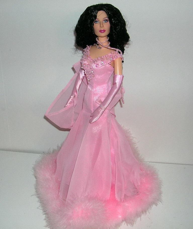 Cher Articulado desechables Barbie-compensa en Color rosadodo de Gasa Vestido de Alfombra Roja De Luxe