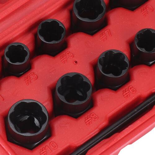 11x Nut Bolt Stud Extractor Twist Socket Locking Wheel Nut Removers Socket Set