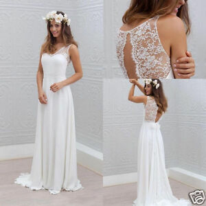 Simple bohemian style wedding dress a line white ivory bridal gown image is loading simple bohemian style wedding dress a line white junglespirit Image collections