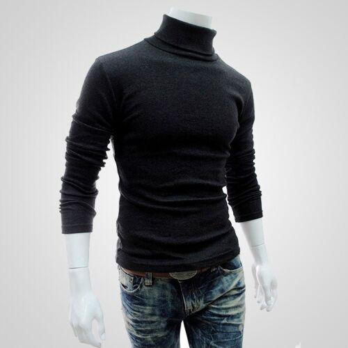 Jumper Sweater Solid Turtleneck Neck Men/'s Top Pullover High T Shirt Long Sleeve
