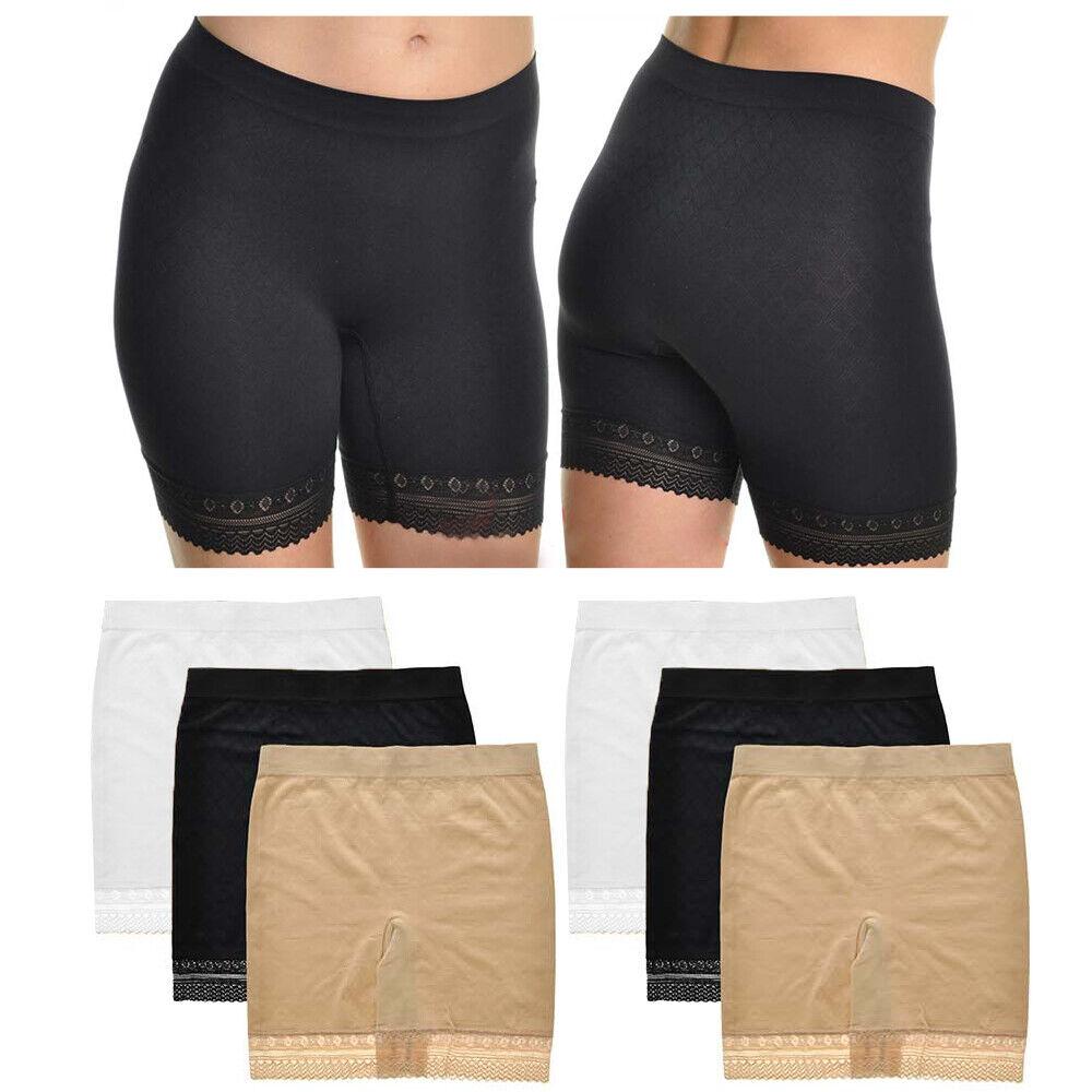 6 X Spitzenrand Leggings Shorts Damen Mode Sicherheit Hose Yoga Nahtlos Basic