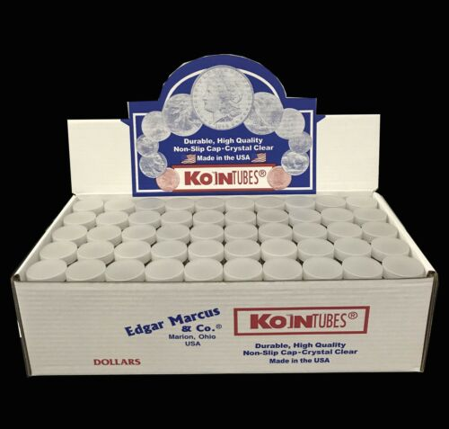 100 Edgar Marcus Round Coin Tubes For Large Silver Dollar $ Clear Archival New