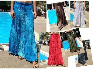 Long-Maxi-Skirt-Gypsy-Boho-Summer-Lightweight-Two-Tones