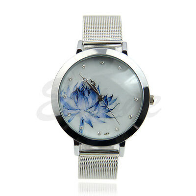 Fashion Lady Women Stainless Steel Mesh Blue Lotus Rhinestone Quartz Wrist Watch