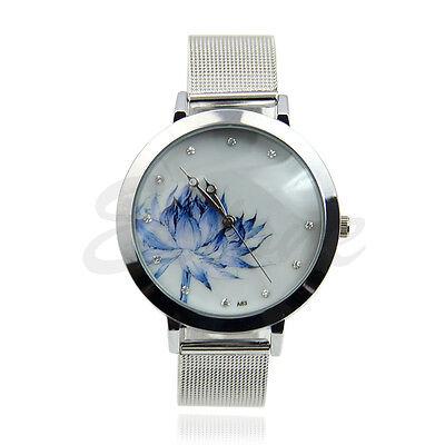 Fashion Lady Women Stainless Steel Mesh Blue Lotus Rhinestone Quartz Wrist Watch