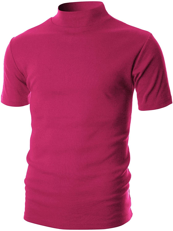 OHOO Mens Slim Fit Soft Cotton Pullover Lightweightweight Turtleneck