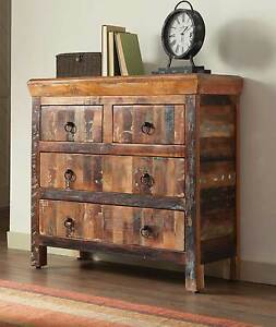 Image Is Loading ARTSY Amp RUSTIC RECLAIMED WOOD FINISH 4 DRAWER