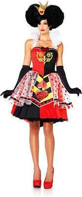 New Authentic Disney Alice Wonderland Queen Of Hearts Adult Halloween Costume
