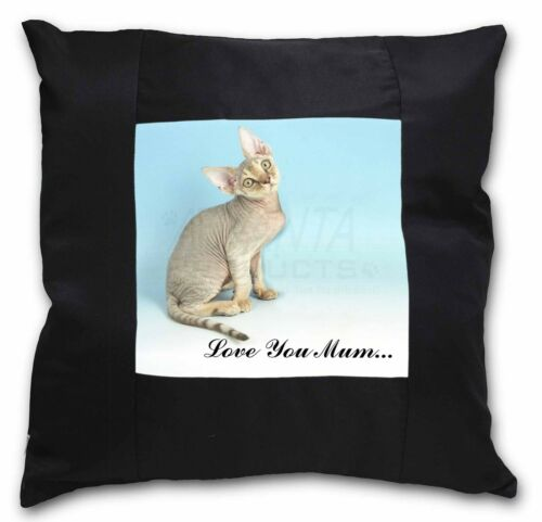 Devon Rex Kitten 'Love You Mum' Black Border Satin Feel Cushion C, AC174lymCSB