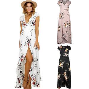 Women-Cocktail-Party-Maxi-Boho-Long-Dress-Floral-Beachwear-Summer-Split-Sundress