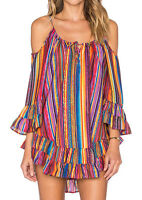 Vessos Women Summer Floral Striped Cold Shoulder Loose Blouse T Shirt Tank Top