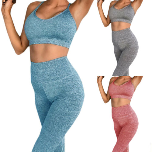 Leggings Damen Yoga Jogginganzug Trainingsanzug Sportanzug Sporthose Crop Tops