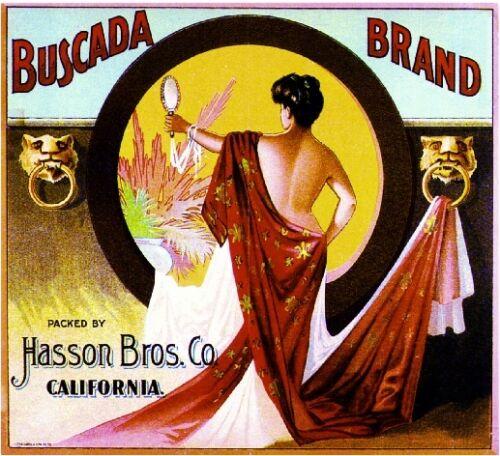 Los Angeles Buscada Beautiful Woman Orange Citrus Fruit Crate Label Art Print