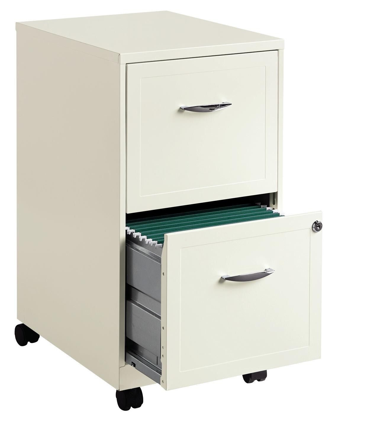 NEW 18  Deep 2 DRAWER MOBILE LETTER SIZE File Cabinet - color  Pearl White