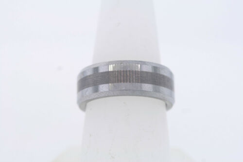 8mm Tungsten Carbide Satin Center Stripe Polished Beveled Edge Band Ring