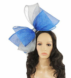 Image is loading Silver-Royal-Blue-Fascinator-Hat-for-Weddings-Ascot- a0c7371d9f8