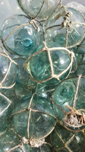 "Japanese Glass Fishing FLOATS 2/"" LOT-5 Round NETTED Buoy Balls Authentic Vintage"