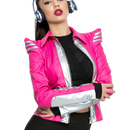 Xs Giacca Leatherlook Giacca m punta donna pelle a in sintetica Spalle Ocassion Pink Neon da rrqwOA